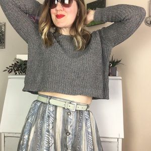 Grey Cotton Long Sleeve Cropped Sweater | Crop Top